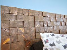 How to make a headboard with wood blocks.