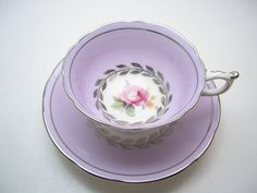 Paragon Lilac Tea cup And Saucer, Lilac and Silver Paragon teacup set with pink roses, 1930's Paragon