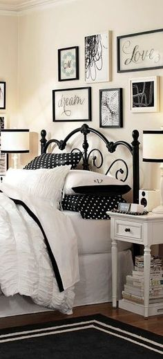 Black Gold Bedroom Ruched Quilt, iron bed and the black frames on the wall, very cute - Girls bedding and bedroom design. Interior designer Tracy Svendsen tips on how to create the perfect girls room from toddler to teen. Black White Bedrooms, Bedroom Black, Dream Bedroom, Home Bedroom, Bedroom Decor, Bedroom Ideas, Headboard Decor, Diy Headboards, Decor Room