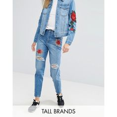 Kubban Tall Applique Patch Boyfriend Jeans (€55) ❤ liked on Polyvore featuring jeans, blue, destructed boyfriend jeans, high waisted ripped boyfriend jeans, relaxed boyfriend jeans, blue jeans and high-waisted jeans