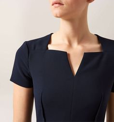 The Montgomery dress is a class act that will never fail you. Neck Designs For Suits, Neckline Designs, Dress Neck Designs, Designs For Dresses, Kurta Designs, Blouse Designs, Black Scrubs, Casual Dresses, Fashion Dresses