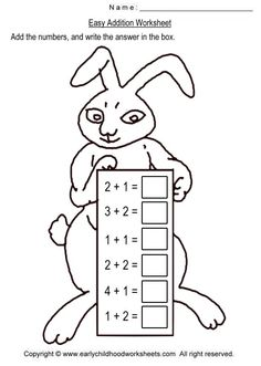Image detail for -To print this worksheet, click Easy Addition Worksheet Preschool Printables, Preschool Worksheets, Preschool Activities, Learning Games For Toddlers, Toddler Learning, 1st Grade Math, Kindergarten Math, Addition Worksheets, Math Tutor
