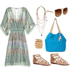 So summery and flattering on all types. Boho dress and accessories <3 #maturefashion