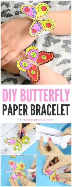 DIY Butterfly Paper Bracelets for Kids Paper Crafts - Th Spring Crafts For Kids, Paper Crafts For Kids, Summer Crafts, Diy Paper, Diy For Kids, Paper Flowers For Kids, Diy Flowers, Butterfly Kids, Origami Butterfly