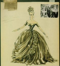The amazing gold gown worn by Grace Kelly from the Hitchcock movie To Catch a Thief. Costume Design by Edith Head