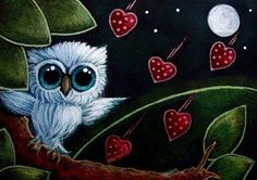 Tiny Blue Owl with falling hearts