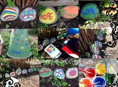 Painting Rocks! Fun outdoor kid activity...or adult  #kid #craft #activity