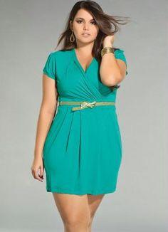 Vestido Turquesa com Decote Transpassado - Quintess - Moda Feminina Mini - Posthaus.com.br