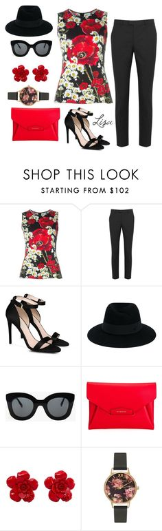 """REDemption"" by coolmommy44 ❤ liked on Polyvore featuring Dolce&Gabbana, RED Valentino, STELLA McCARTNEY, Maison Michel, CÉLINE, Givenchy, Chanel and Olivia Burton"