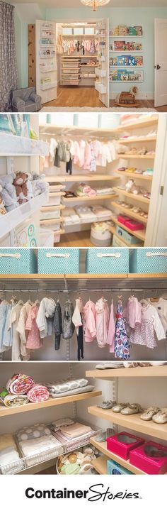Design expert and HGTV stars, Peyton and Chris Lambton agree! No nursery closet is complete without elfa utility Door & Wall Racks. We made sure to outfit their double doors with them. Inside the closet, a combination of solid birch-trimmed Decor Drawers, Shelves and open Shelf Baskets organize little Lyla's wardrobe.