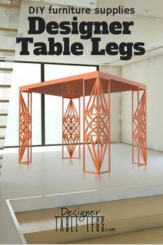 Versailles Diamond Orange Table Legs - DIY Furniture Supplies for Tables Desks - Interior Design Ikea Hacks - www.designertablelegs.com