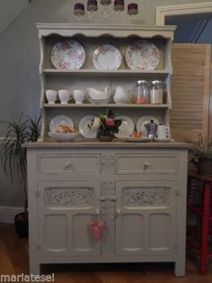 Vintage Shabby Chic Dresser Display Wall Unit Cupboard Drawers Shelves Sideboard | eBay