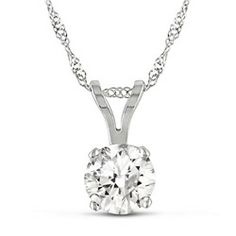 Miadora 14k White Gold Round 1ct TDW Certified Diamond Solitaire Necklace (G-H, I1-I2)
