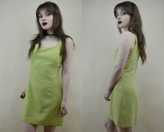 90s Grunge Clueless Lime Green Checked Spaghetti Strap Scoop Neck Babydoll Mini Dress S / M