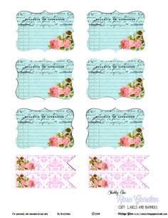 Shabby Chic Rose Garden Labels   Free Printable Download