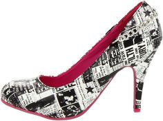 T.U.K. Punk Newsprint Chain Ski Hi Womens Heels UK Size 7: Amazon.co.uk: Shoes & Bags