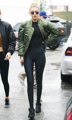 Gigi Hadid, Bomber Jacket, Leggings, Sunglasses, Sneakers, Outfit
