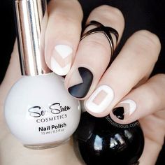 """Throwback Thursday time. One of our favourite black and white nail art designs from Maria from @so_nailicious  We love this stunning negative space geometric. She has used """"Leucosia"""", """"Midnight Moves"""" and """"Sea Matte"""" for the matte effect on the index finger.  www.seasiren.com.au  happybunnycosmetics.com in the USA . #seasirencosmetics #seasiren #nailpolish"""