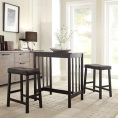 3-Pc Kitchen Dining Set Bistro Patio Counter Height Apt Small Space Convenient  #Bistro