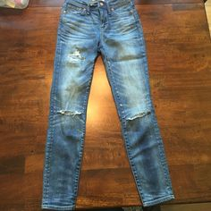 Madewell Lightwash Distressed Jeans Brand new, distressed, straight legged jeans from Madewell Madewell Jeans Straight Leg