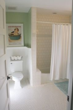 Ideas for Boy's Bathroom Remodel:  Love the Oyster Cracker Tiles, the white beadboard, and the ADORABLE Good Housekeeping picture!