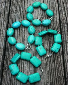 TURQUOISE bracelet stone blue silver western metal by Blitzrider, $16.99