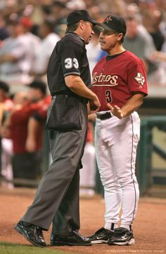 Image Detail for - HOUSTON - OCTOBER 17: Manager Phil Garner of the Houston Astros speaks with umpire Mike Winters in game four of National League Championship Series against the St. Louis Cardinals during the 2004 Major