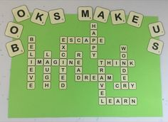 This looks great on the wall and was easy to make. I plan another one with book … This looks great on the wall and was easy to make. I plan another one with book genres. Scrabble Bulletin Boards, Literacy Bulletin Boards, Reading Bulletin Boards, Bulletin Board Display, Display Boards, Easy Bulletin Boards, Preschool Bulletin, School Library Decor, School Library Displays