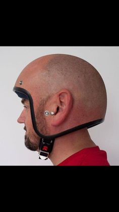 The modern man of today wears: a balding helmet - Funny Stuff - Motorrad Cool Motorcycle Helmets, Cool Motorcycles, Motorcycle Humor, Motorcycle Shop, Helmet Head, Dark Helmet, Skull Helmet, Safety Helmet, V Max