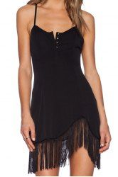 Vestido preto Correia de espaguetes Tassel Feminina