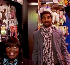 Parks and Recreation Treat Yo Self. Tom and Donna reacting to Ben in the Batman costume.