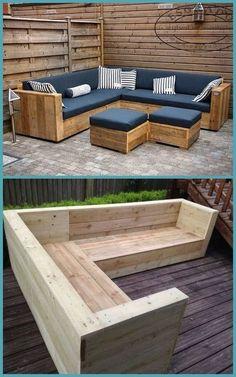 Garden Furniture Design, Diy Outdoor Furniture, Outdoor Decor, Wood Patio Furniture, Furniture Layout, Outdoor Seating, Furniture From Pallets, Pallet Couch Outdoor, Pallet Patio Decks