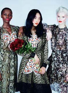 Harpers Bazaar UK Editorial August 2014 - Kwak Ji Young, Herieth Paul & Helena Greyhorse by Erik Madigan Heck
