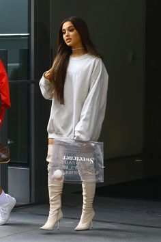 Ariana Grande wearing Sergio Rossi Stretch Nappa Leather Boots, Fallon Monarch Baguette Wrap Choker, Fan Merchandise The Light Is Coming Crew, Hermès Through Carryall Travel Top Handle Satchel Tote Bag Ariana Grande Outfits, Ariana Grande Style, Ariana Grande Fotos, Ariana Grande Pictures, Mini Robes, Sergio Rossi, Beautiful Celebrities, Thigh Highs, Ideias Fashion