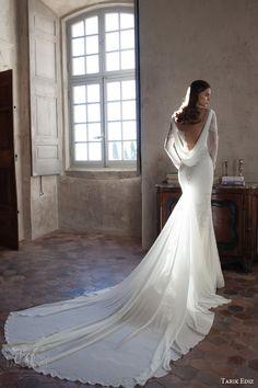 tarik ediz bridal 2015 sitrin illusion neckline long sleeve wedding dress train cowl back view full