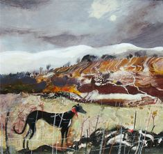 Melting Snow Muckhart, mixed media, 30 x 40 ins x 102 cms) Dusk February. Melting Snow, Fife 41 x Abstract Landscape, Landscape Paintings, Landscapes, Naive Art, Cat Drawing, Animal Paintings, Fabric Art, Medium Art, Art Forms