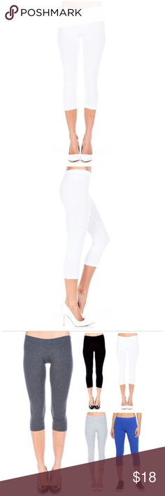 Basic White Capri Leggings Basic White Capri Leggings. Use for lounging or active wear. Material- 95% Cotton, 5% Spandex. Other colors available, bundle to save.  Sizes run a tad on small side, order one size up. Pants Leggings