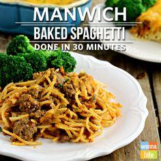 Manwich Baked Spaghetti Done in 30 minutes! via @Wannabite