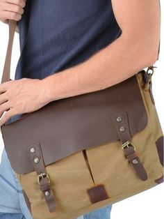 Casual Canvas Genuine Leather Messenger Bag #serbags