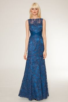 royal blue beaded lace gown