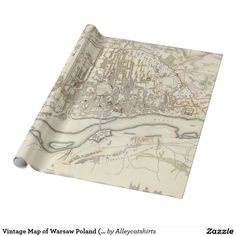 Vintage Map of Warsaw Poland (1831) Wrapping Paper