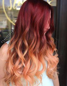 Burnt Orange Hair Color, Bright Red Hair, Burgundy Hair, Red Hair Color, Cool Hair Color, Pastel Orange Hair, Brown Hair, Cabelo Ombre Hair, Red Ombre Hair