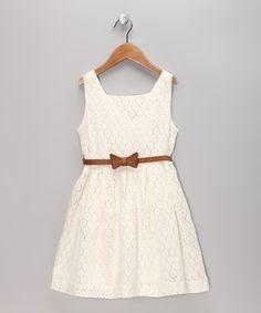 Sweet charlotte - White Lace Dress & Belt - Toddler & Girls