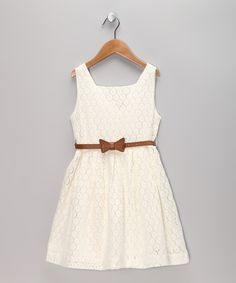 Sweet charlotte - White Lace Dress & Belt - Toddler & Girls
