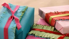 For an additional way to show you care, go the extra mile and decorate the outside of your gift Follow our easy steps to add a crepe paper fringe to your gift package./