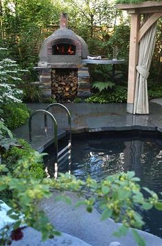 Naturally filtered plunge pool & pizza oven. Yes to the please.  Designed by Mark Gregory for The Children's Society Garden.