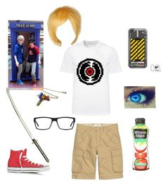 """""""Johndave's child cosplay"""" by tristajeager on Polyvore featuring GlassesUSA, Versace, Converse and Coshome"""
