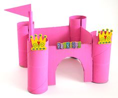Pink Princess castle to make ... easy craft from recycled paper tubes.