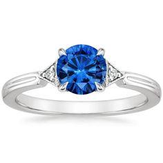 18K White Gold Sapphire Olivetta Diamond Ring, top view