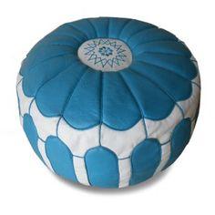 Pouffe leather blue & white - moroccan pouffe